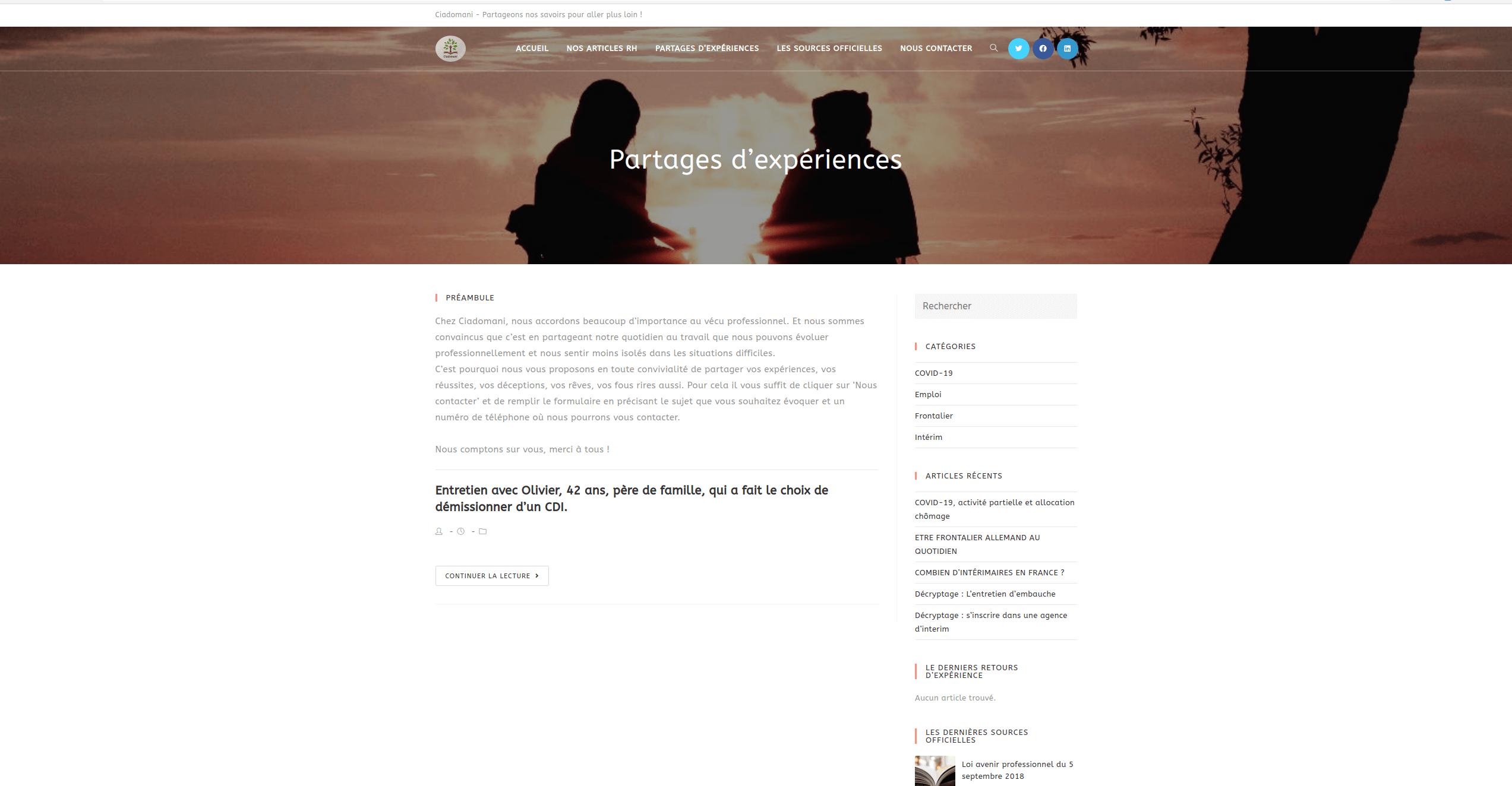 Ciadomani - Espace de partages experiences